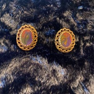 Colorful marbled earrings